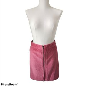 GAP Pink Corduroy Zipper Front Skirt C1